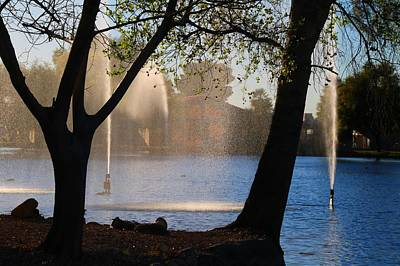 Photograph - Fountains In Silhouette by Kathryn Meyer