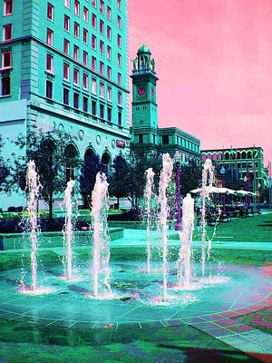 Photograph - Fountains In Teal by Carolyn Jacob