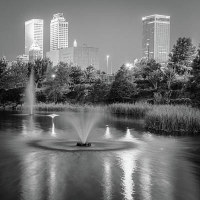 Photograph - Fountains Under The Tulsa Skyline - Black And White by Gregory Ballos