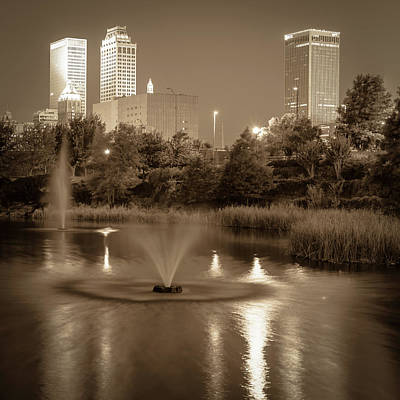 Photograph - Fountains Under The Tulsa Skyline - Sepia by Gregory Ballos
