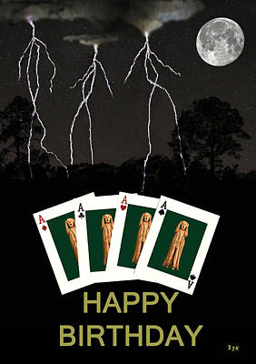 Norway Mixed Media - Four Aces Happy Birthday by Eric Kempson