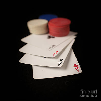 Chip Photograph - Four Aces Poker by Edward Fielding