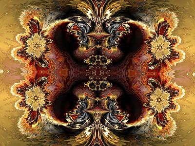 Algorithmic Digital Art - Four Algorithmic Flowers by Claude McCoy