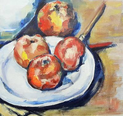 Painting - Four Apples And A Knife Cezanne Interpretation by Christel Roelandt