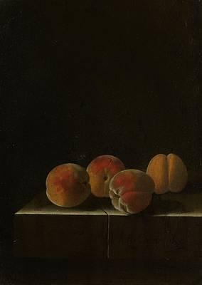Four Apricots On A Stone Plinth Art Print