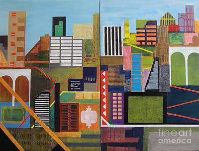 Arch Shapes Painting - Four Arches Diptych by Ian Schwartz