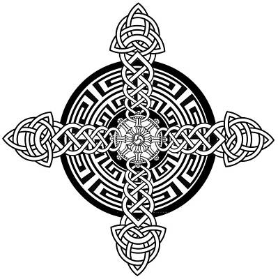 Celtic Cross Drawing - Four Armed Celtic Cross by Stephen Humphries