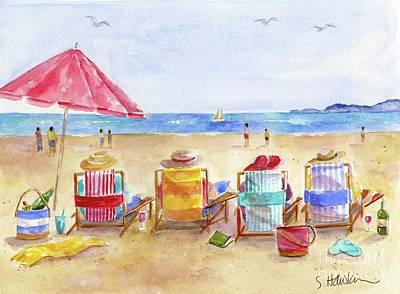 Seaside Art Painting - Four Beach Amigos by Sheryl Heatherly Hawkins
