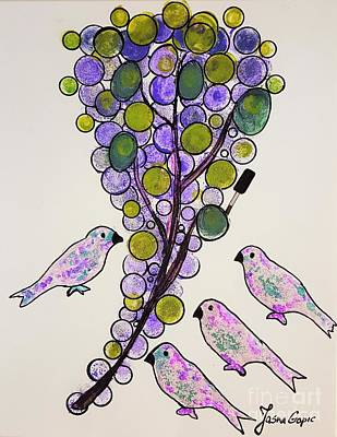 Four Birds And Grapes Art Print by Jasna Gopic