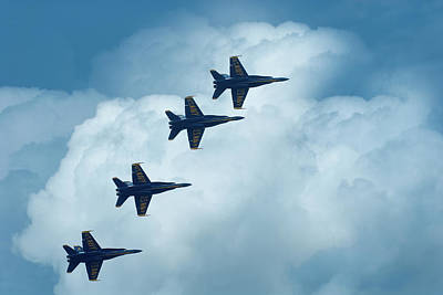 Photograph - Four Blue Angels In The Clouds by  Onyonet  Photo Studios