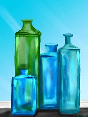 Painting - Four Bottles by Christine Fournier