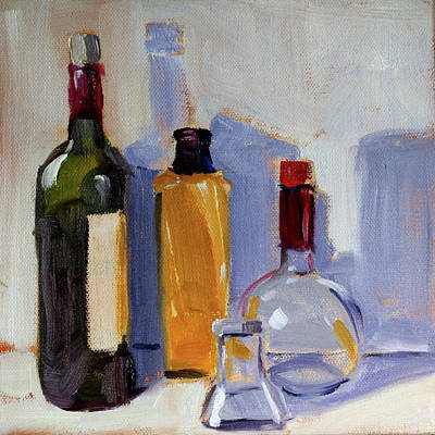 Art Print featuring the painting Four Bottles by Nancy Merkle