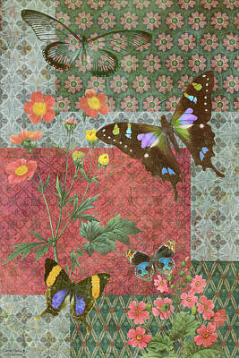 Quilted Tapestries Painting - Four Butterfly Patch Green by JQ Licensing