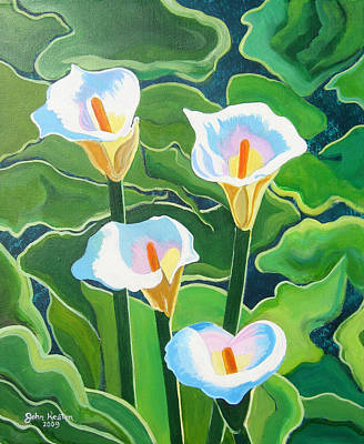 Painting - Four Calla Lillies by John Keaton