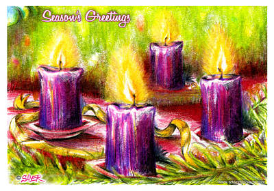 Pine Needles Drawing - Four Candles by James Sayer