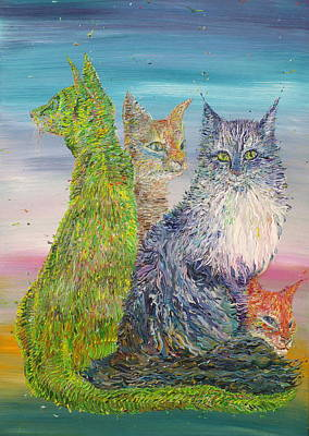Painting - Four Cats by Fabrizio Cassetta