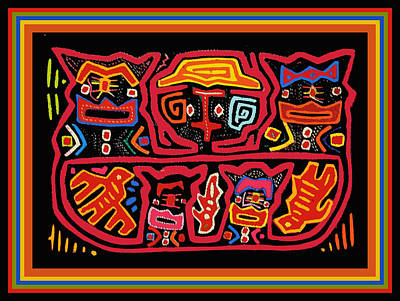 Digital Art - Four Cats Three Birds by Vagabond Folk Art - Virginia Vivier