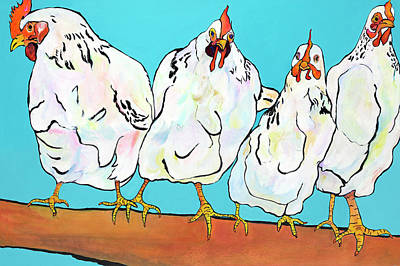 Painting - Four Clucks II by Pat Saunders-White