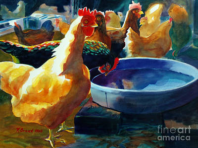 Shed Painting - Four Clucks by Kathy Braud