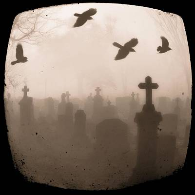 Crow Image Photograph - Four Crows Fly Through The Dark And Foggy Cemetery by Gothicrow Images