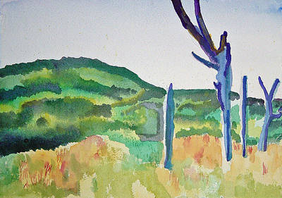 Painting - Four Dead Trees After Edward Hopper by Paul Thompson