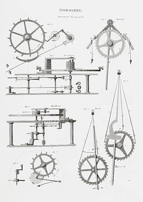 Mechanism Drawing - Four Different Remontoire Escapement by Vintage Design Pics