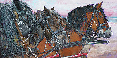 Painting - Four Draft Horses by Nadi Spencer