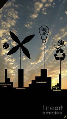 Country Schools Digital Art - Four Energy Source by Artist Nandika Dutt