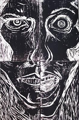 Depression Mixed Media - Four Faces by Catherine Karsas