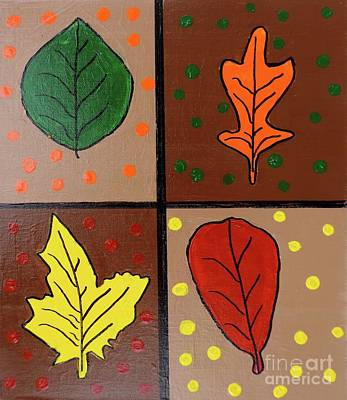 Painting - Four Fall Leaves by Sean Brushingham