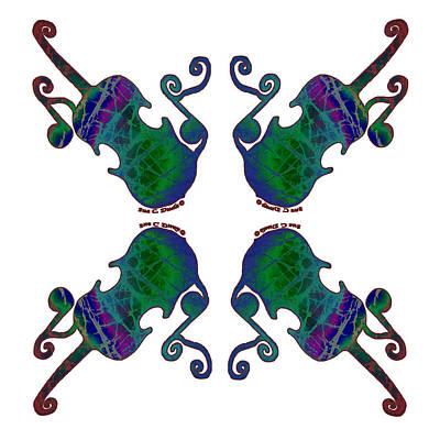Fiddle Painting - Four Fancy Fiddles by Sue Duda