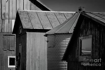 Photograph - Four Farm Buildings Black And White by Karen Adams