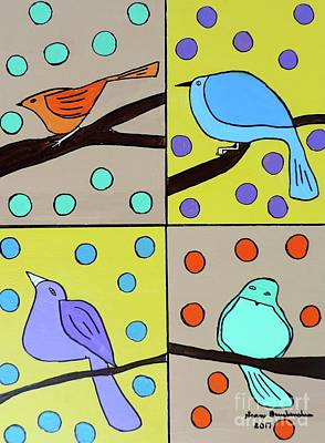Painting - Four Feathered Friends by Sean Brushingham