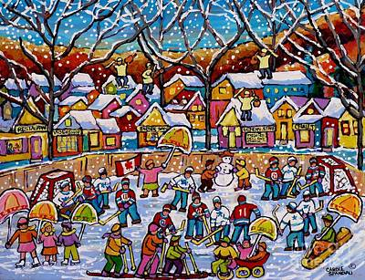 Painting - Four Fiddlers On The Roof Tops Hockey Art Snowy Winter Wonderland Skaters Skiers Sleds Umbrellas  by Carole Spandau
