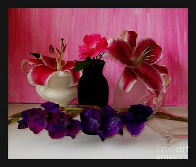 Gladiolas Digital Art - Four Flowers by Marsha Heiken