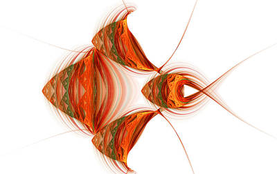 Art Print featuring the digital art Four Fractal Fishies by Richard Ortolano