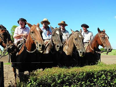 Four Gauchos In Argentina Art Print by Kirsten Giving