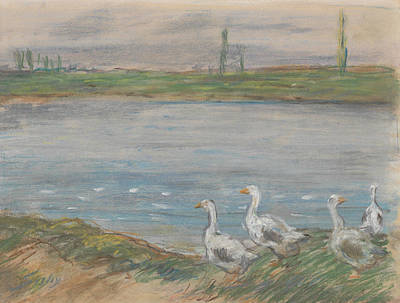 Pastel - Four Geese By A Pond by Alfred Sisley
