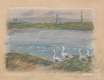 Geese Painting - Four Geese By A Pond by MotionAge Designs
