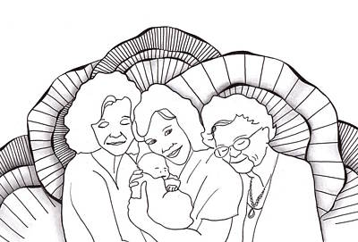 Drawing - Four Generations by Jan Steinle