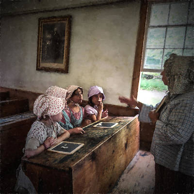 One Room Schoolhouse Photograph - Four Girls In A One Room Schoolhouse by Chris Bordeleau