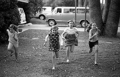 Photograph - Four Girls Racing, 1972 by Jeremy Butler