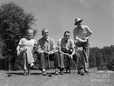 Four Golfers, C.1940-50s Art Print by H. Armstrong Roberts/ClassicStock