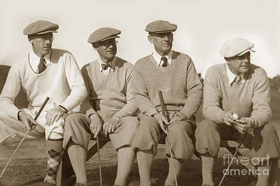Photograph - Four Golfers On A Bench Circa 1930 by California Views Mr Pat Hathaway Archives