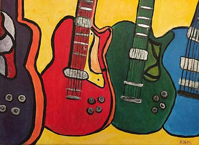 Painting - Four Guitars by Anne Sands