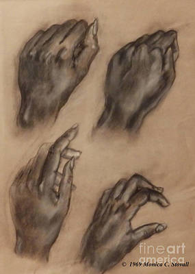 Drawing - Four Hand Poses Sketch by Monica C Stovall