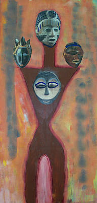 Mixed Media - Four Heads by Russell Simmons