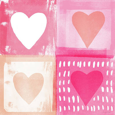 Peach Mixed Media - Four Hearts- Art By Linda Woods by Linda Woods