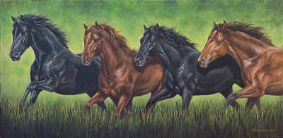 Painting - Four Horses by Kim Lockman