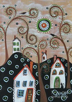 Naive Art Painting - Four Houses 1 by Karla Gerard